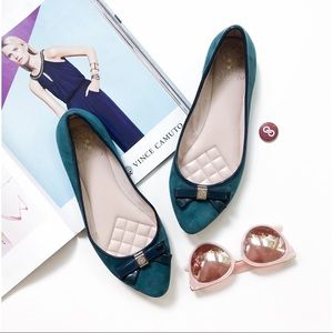 Vince Camuto Timba Teal Suede Bow Ballet Flats
